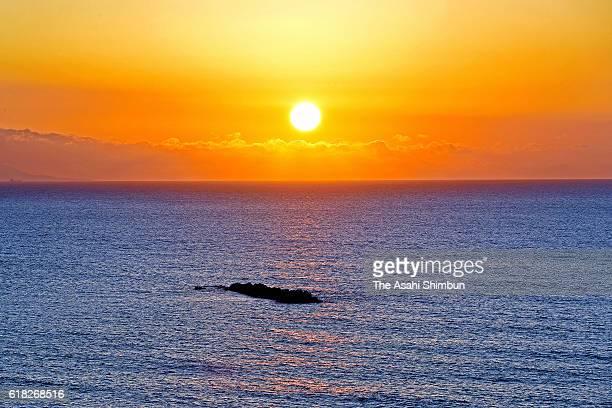 The sun rises on October 26 2016 in Kawazu Shizuoka Japan