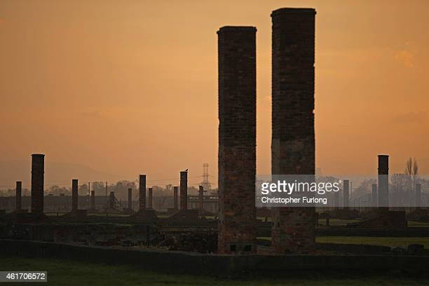 The sun rises over chimneys and the remains of detention blocks at the Auschwitz II Berkenau extermination camp on November 11 2014 in Oswiecim...
