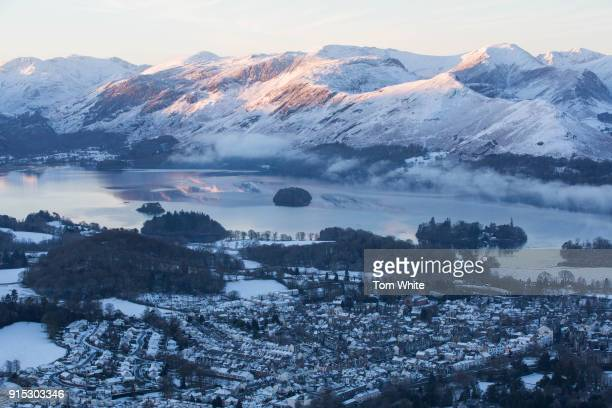 The sun rises over Derwentwater in the Lake District on February 7 2018 near Keswick England Freezing conditions are continuing with forecasters...
