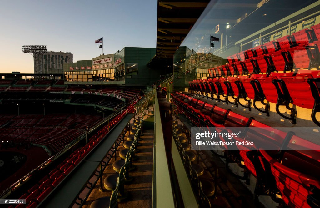 The sun rises over Fenway Park before the Opening Day game between the Boston Red Sox and the Tampa Bay Rays on April 5, 2018 at Fenway Park in Boston, Massachusetts.
