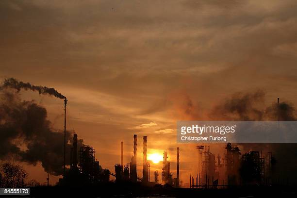 The sun rises over Lindsey oil refinery in North Lincolnshire as protestors gather to demonstrate against jobs for for foreign workers on January 30...