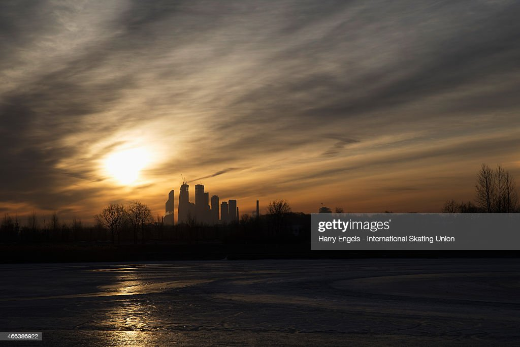 The sun rises over Moscow on day three of the ISU World Short Track Speed Skating Championships at the Krylatskoe Speed Skating Centre on March 15, 2015 in Moscow, Russia.