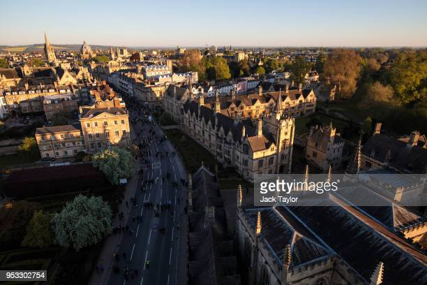 The sun rises over Oxford after the Magdalen College Choir sang the Hymnus Eucharisticus from the top of the Great Tower Magdalen College at Oxford...