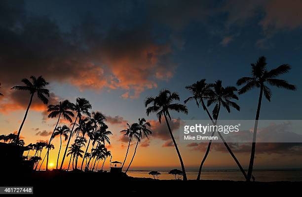 The sun rises over the 16th green prior to the final round of the Sony Open at Waialae Country Club on January 18 2015 in Honolulu Hawaii