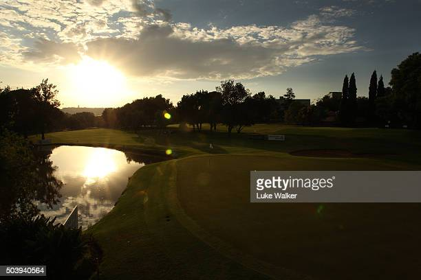 The Sun rises over the 9th green during the 2nd round of the BMW South African Open Championship at Glendower Golf Club on January 8, 2016 in...