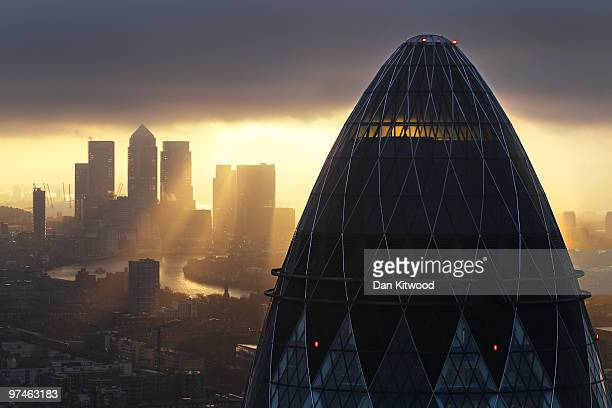 The sun rises over the City of London on February 25, 2010 in London, United Kingdom. As the UK gears up for one of the most hotly contested general...