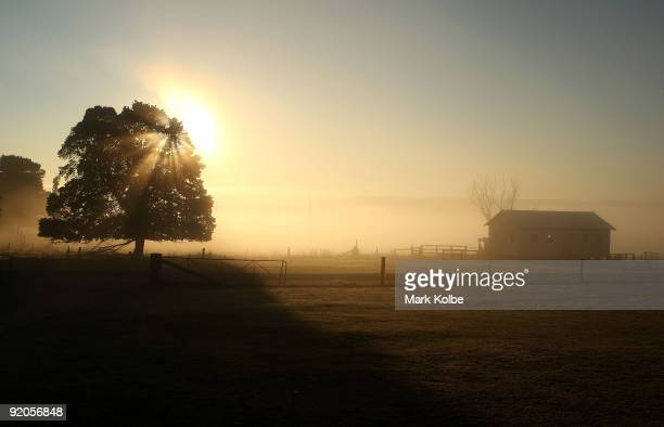 The sun rises over the farm before the start of a day of spring shearing at Cherry Hill Pastoral Company property on October 19, 2009 in Uralla,...