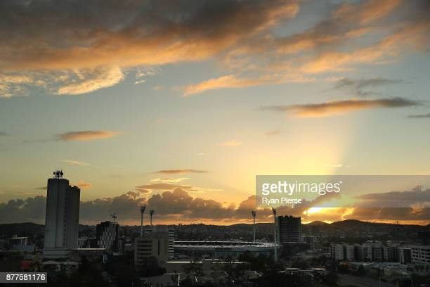 The sun rises over the Gabba before day one of the First Test Match of the 2017/18 Ashes Series between Australia and England at The Gabba on...