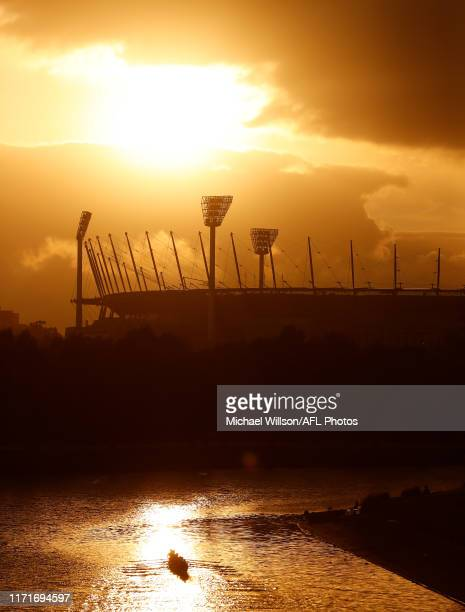 The sun rises over the MCG before the 2019 Toyota AFL Grand Final match between the Richmond Tigers and the GWS Giants at the Melbourne Cricket...