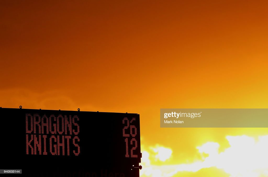 The Sun set behind the stadium during the round four NRL match between the St George Illawarra Dragons and the Newcastle Knights at WIN Stadium on April 1, 2018 in Wollongong, Australia.