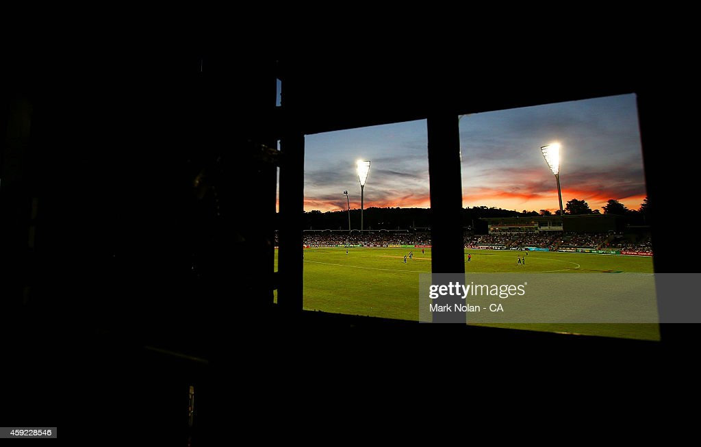 The sun set over Manuka Oval is pictured from the score board during game three of the One Day International Series between Australia and South Africa at Manuka Oval on November 19, 2014 in Canberra, Australia.