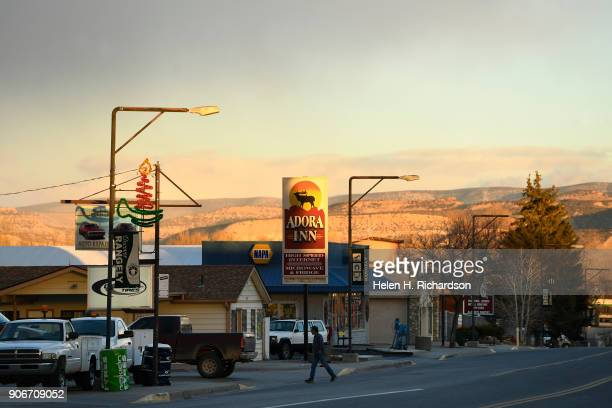RANGELY CO DECEMBER 5 The sun sets along Main street on December 5 2017 in Rangely Colorado This small northwestern town is struggling to keep...