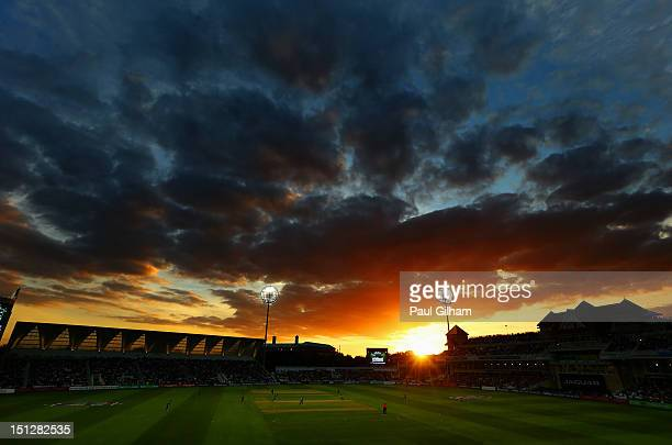 The Sun sets as Hashim Amla and AB de Villiers of South Africa add to the runs total for South Africa during the Fifth NatWest Series One Day...