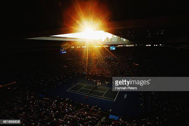 The sun sets as Rafael Nadal of Spain plays his second round match against Tim Smyczek of USA during day three of the 2015 Australian Open at...
