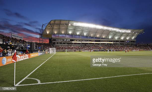 The sun sets as Real Salt Lake and Kansas City play an MLS soccer game on September 17 2011 at Rio Tinto Stadium in Sandy Utah Real Salt Lake beat...