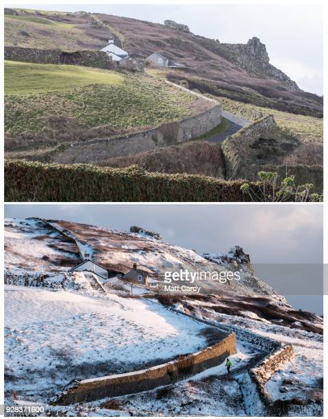 In this composite image a comparison has been made before and after snowfall in Cornwall in the timeline of one week PENZANCE UNITED KINGDOM FEBRUARY...