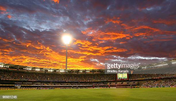 The sun sets at the Gabba during the first One Day International match between Australia and Pakistan at The Gabba on January 22, 2010 in Brisbane,...