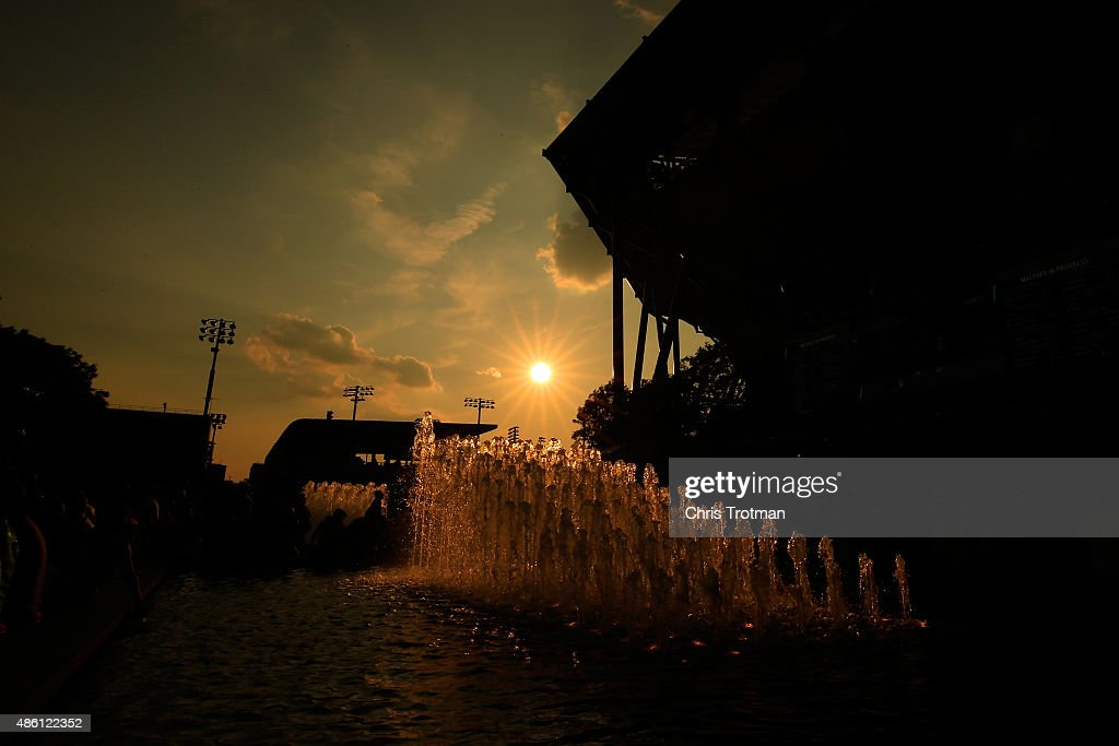 The sun sets behind Arthur Ashe Stadium during day one of the 2015 U.S. Open at the USTA Billie Jean King National Tennis Center on August 31, 2015 in New York City.