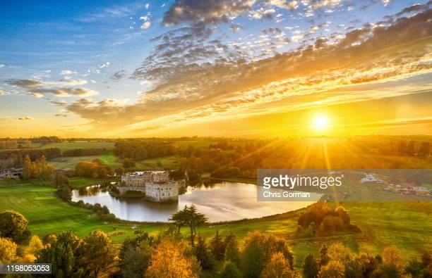 The sun sets behind Leeds Castle in Kent on November 03, 2018 in Broomfield, United Kingdom.