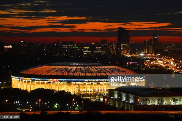 The Sun sets behind the Luzhniki Stadium ahead of the FIFA World Cup Final between France and Croatia on July 13 2018 in Moscow Russia