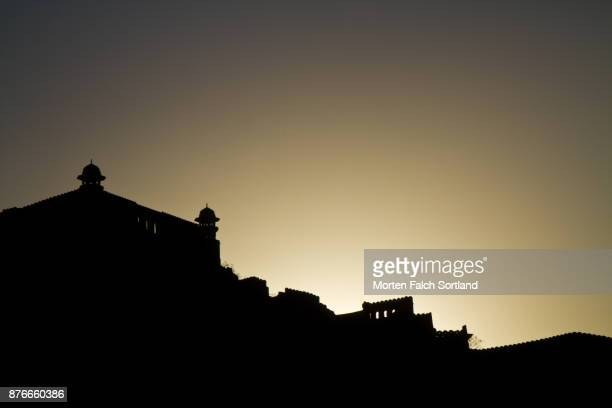 The Sun Sets Behind the Silhouetted Amber Palace in Jaipur, Springtime