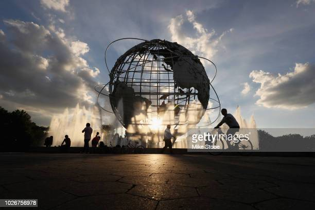The sun sets behind the Unisphere on Day Nine of the 2018 US Open at the USTA Billie Jean King National Tennis Center on September 4, 2018 in the...