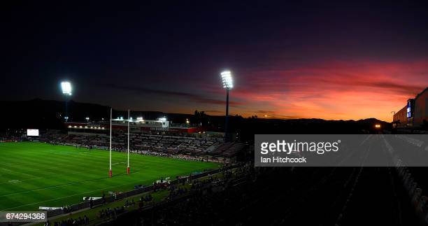 The sun sets behind the western and northern grandstands before the start of the round nine NRL match between the North Queensland Cowboys and the...