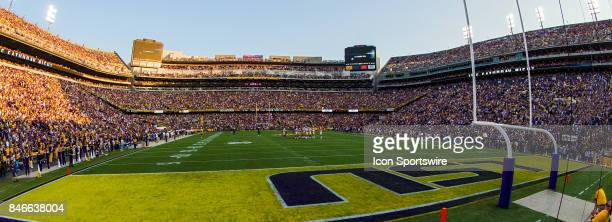 The sun sets behind Tiger Stadium before a game between the University of TennesseeChattanooga Mocs and LSU Tigers on September 9 2017 at Tiger...