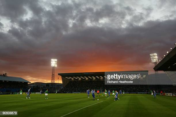 The sun sets behind Winsor Park prior to the FIFA2010 Group 3 World Cup Qualifier between Northern Ireland and Slovakia at Windsor Park on September...