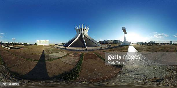 The sun sets beyond the Cathedral of Brasilia on May 13 2016 in Brasilia Brazil Brazil will host the Rio 2016 Olympic Games in August