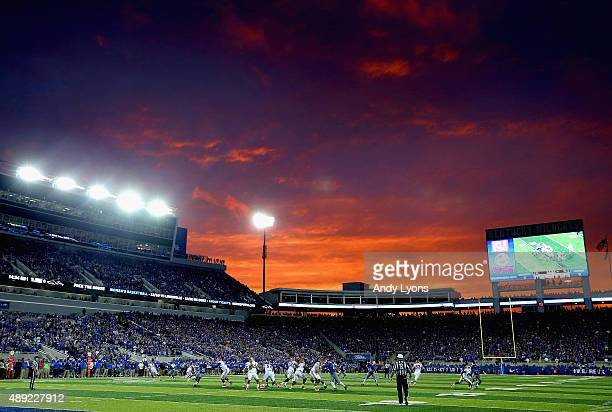 The sun sets during action of the Florida Gators against the Kentucky Wildcats at Commonwealth Stadium on September 19 2015 in Lexington Kentucky