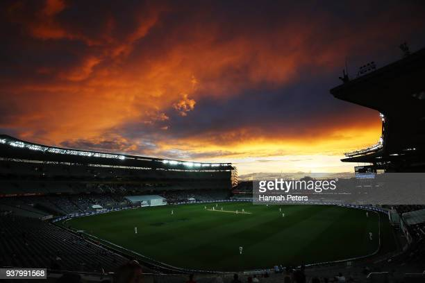 The sun sets during day five of the First Test match between New Zealand and England at Eden Park on March 26 2018 in Auckland New Zealand