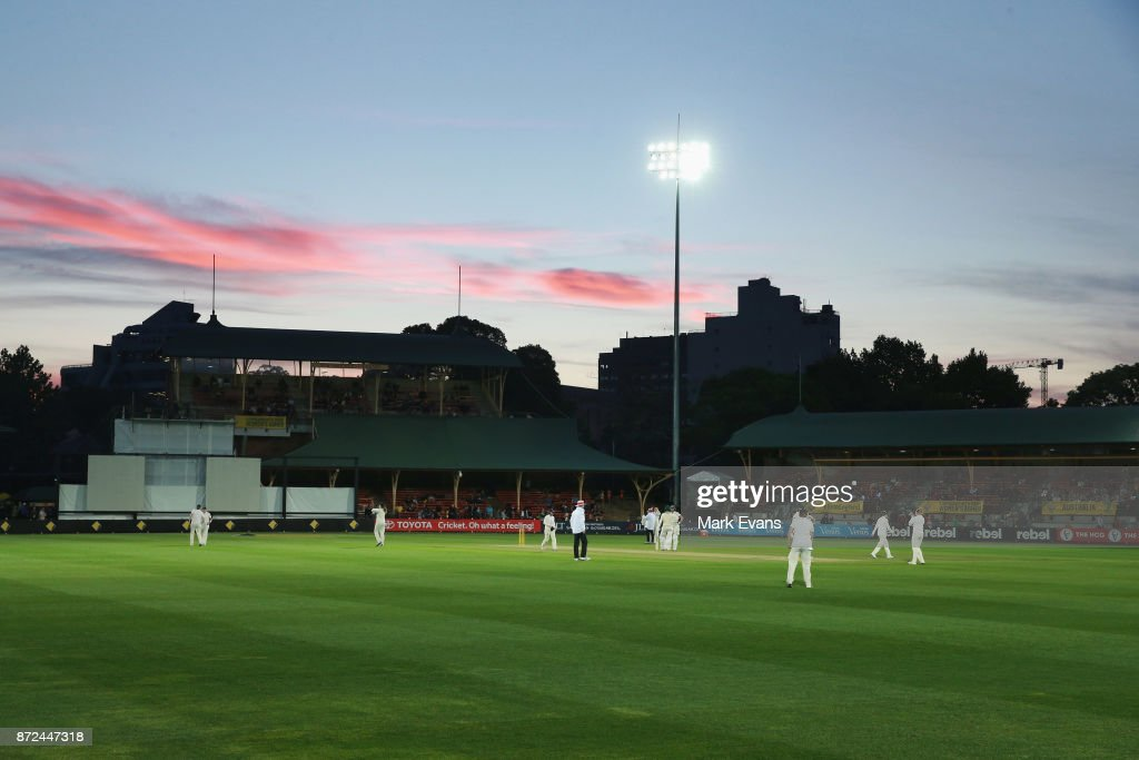 The sun sets during day two of the Women's Test match between Australia and England at North Sydney Oval on November 10, 2017 in Sydney, Australia.