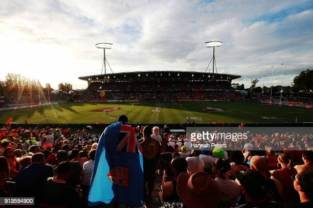 The sun sets during the 2018 New Zealand Sevens at FMG Stadium on February 3 2018 in Hamilton New Zealand