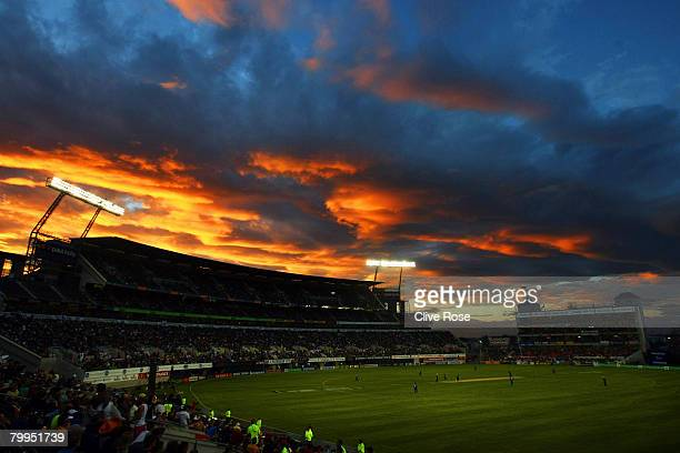 The sun sets during the fifth National Bank series One Day International match between New Zealand and England at the AMI Stadium on February 23 2008...