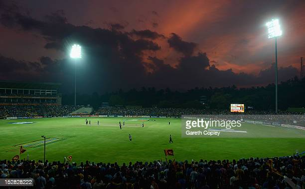 The sun sets during the ICC World Twenty20 2012 Super Eights Group 1 match between Sri Lanka and New Zealand at Pallekele Cricket Stadium on...