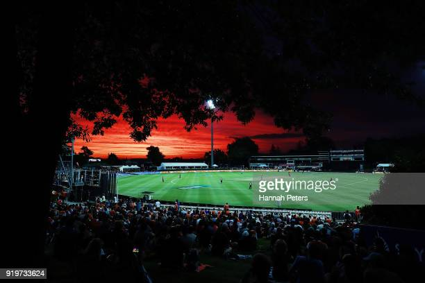 The sun sets during the International Twenty20 match between New Zealand and England at Seddon Park on February 18 2018 in Hamilton New Zealand