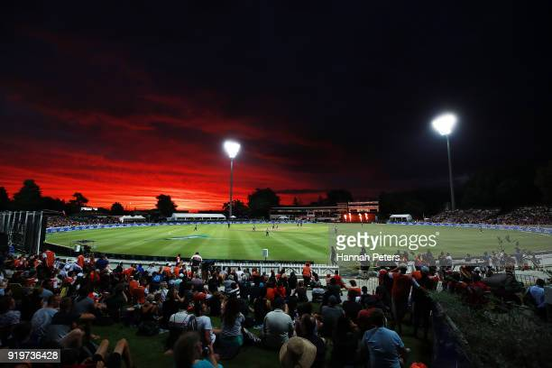 The sun sets during the International Twenty20 match between New Zealand and England at Seddon Park on February 18, 2018 in Hamilton, New Zealand.