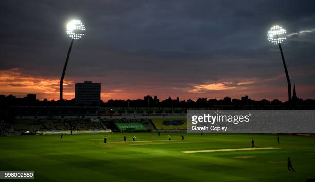 The sun sets during the Vitality Blast match between Birmingham Bears and Leicestershire Foxes at Edgbaston on July 13 2018 in Birmingham England