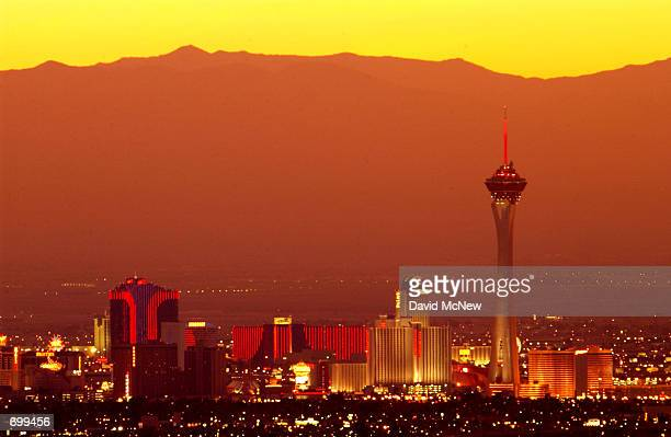 The sun sets February 7 2002 on Las Vegas NV Residents of the city await news from the Federal Government regarding the fate of the proposed nuclear...