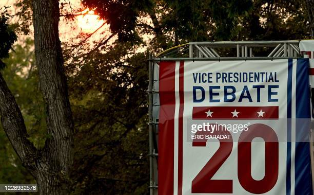 The sun sets near the University of Utah, the site of the first Vice Presidential debate of the US 2020 elections on October 6, 2020 in Salt Lake...