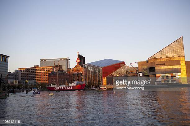 The sun sets October 17, 2010 over Baltimore, Maryland's Inner Harbor. The historic seaport, commercially active in the 18th century, is a popular...