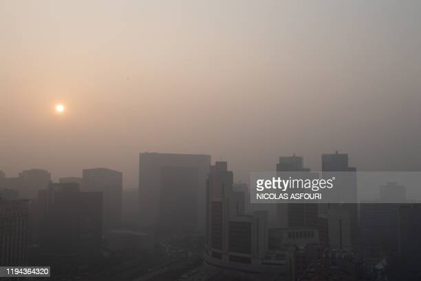 The sun sets on a polluted day in Beijing on January 18 2020
