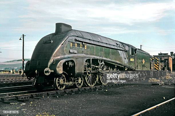 The sun sets on Gresley 'A4' Pacific No.60034 in August 1966 at Perth depot. Once a proud 'racehorse' on the mainline, it will no longer turn a wheel...