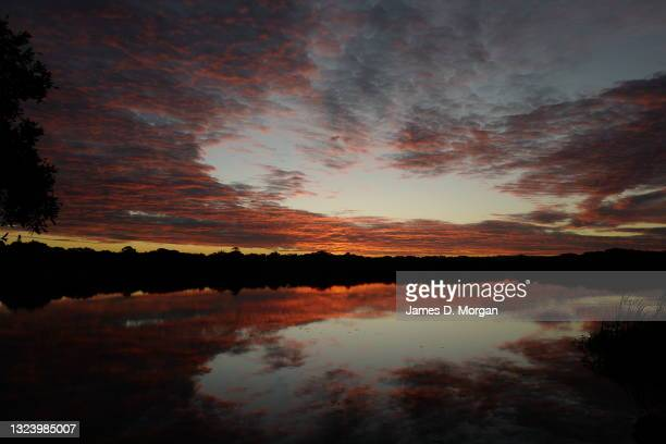 The sun sets on Lake Ainsworth on June 15, 2021 in Lennox Head, Australia. The lake is a tea-tree stained lake and is used by locals and visitors to...