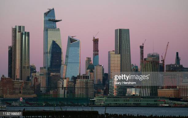 The sun sets on new buildings across midtown Manhattan Hudson Yards 220 Central Park south Central Park Tower Manhattan West 111 west 57th Street the...