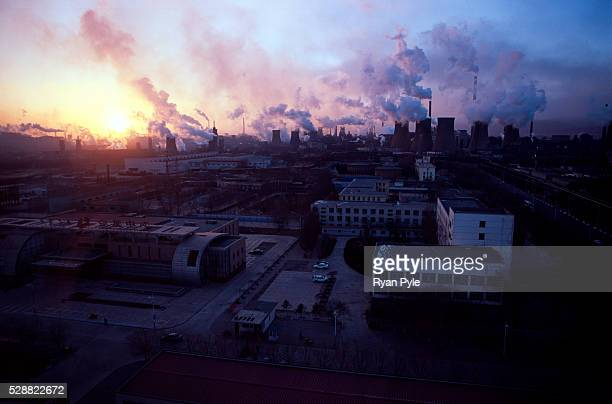 The sun sets on the Bao steel mill in Baotou Inner Mongolia China Baotou is an excellent example of a oneindustry town and that industry is steel...