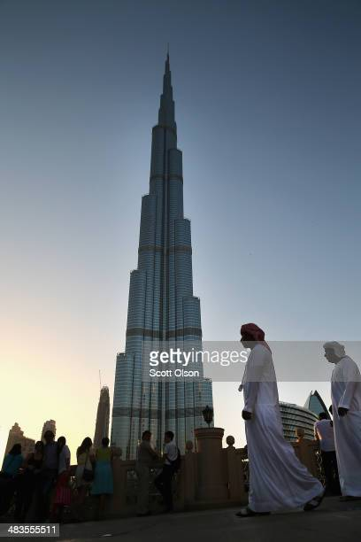 The sun sets on the Burj Khalifa on April 9, 2014 in Dubai, United Arab Emirates. At 2,722 ft, the building is the world's tallest man-made structure.