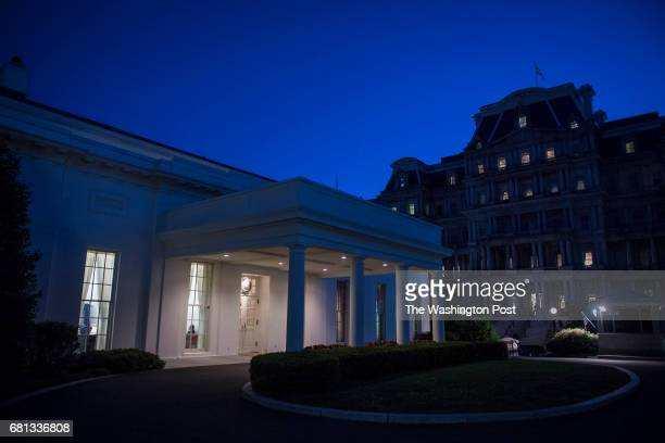 The sun sets on the West Wing after President Donald J Trump terminated FBI Director James Comey at the White House in Washington DC on Tuesday May...