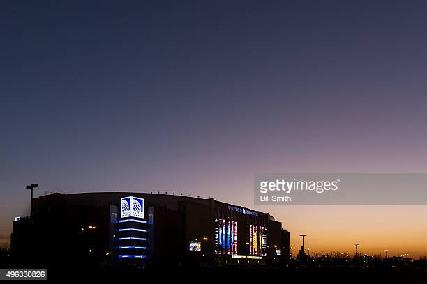 The sun sets outside of the United Center prior to the NHL game between the Chicago Blackhawks and the Edmonton Oilers on November 8 2015 in Chicago...